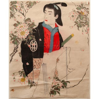 """Antique Japanese """"Young Samurai and Chysantemums"""" Painting on Washi Paper For Sale"""