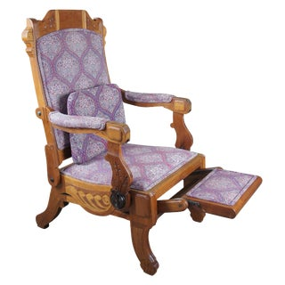 Antique 1883 Db Hartley American Walnut Carved Reclining Victorian Arm Chair For Sale