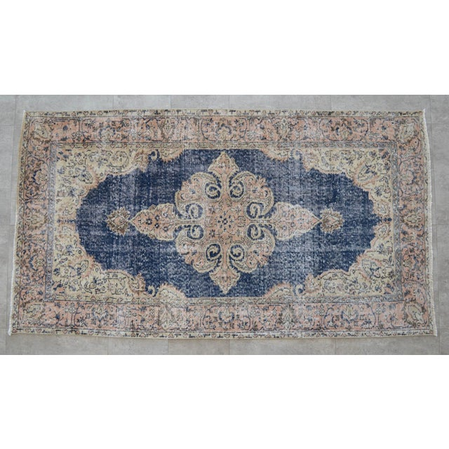 Turkish Distressed Area Rug Hand Knotted Faded Oushak Rug - 3'7'' X 6'7'' For Sale - Image 11 of 11