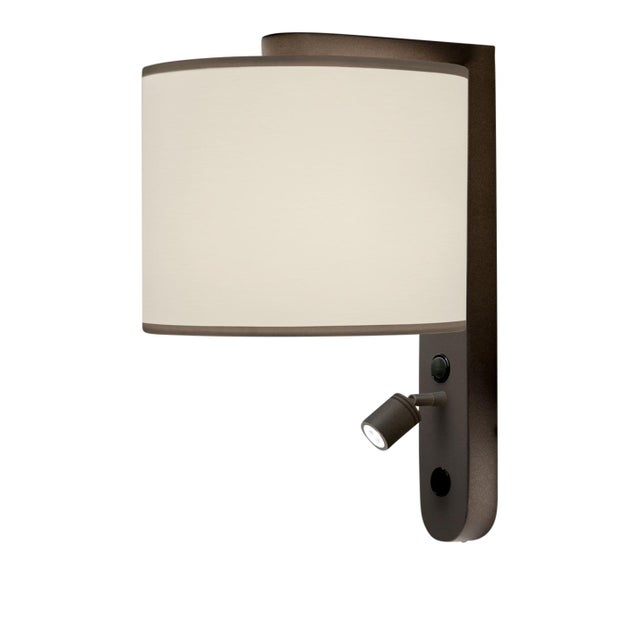 Mid-Century Modern Led Penny Bronze Wall Light With Shade For Sale - Image 3 of 3