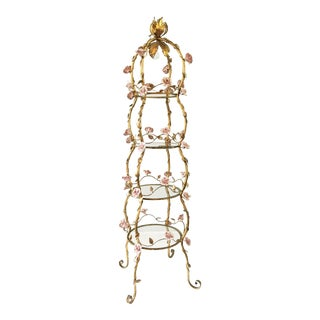 Italian Florentine Tole Gold Gilt Etagere With Porcelain Roses