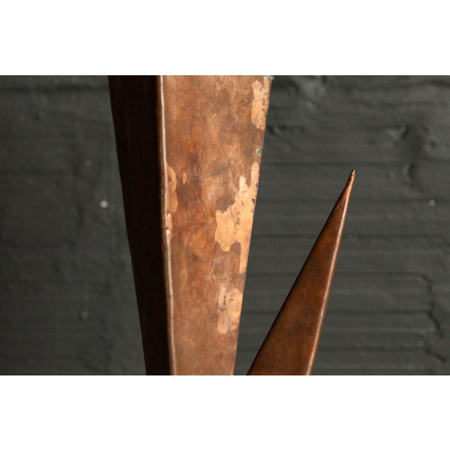 Mid-Century Modern Vintage Copper and Wood Sculpture For Sale - Image 3 of 4