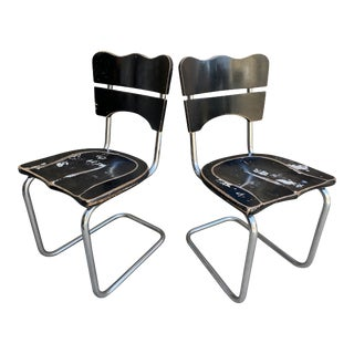 Italian Distressed Wood Cantilever Side Chairs- a Pair For Sale