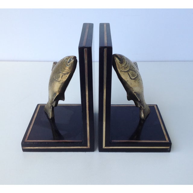 Brass Brass Trout Fish & Wood Bookends - A Pair For Sale - Image 7 of 11