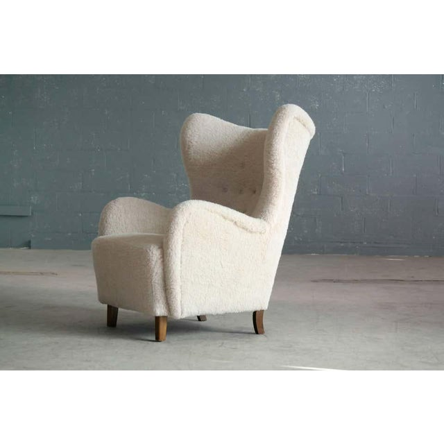 1940s High Back Lounge Chair in Lambswool Danish 1940's Attributed to Flemming Lassen For Sale - Image 5 of 11