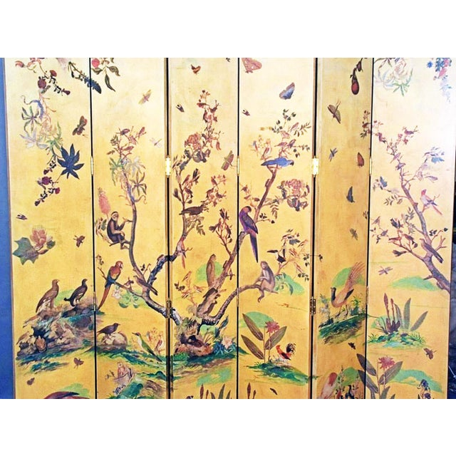 Asian 1950s Vintage Birds Foliage Six Pannel Screen For Sale - Image 3 of 8