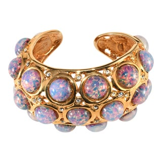 K.J.L. Bracelet Hinged Cuff Faux Opals For Sale