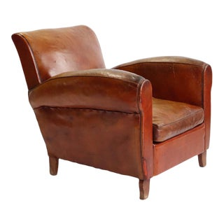 French Art Deco Leather Club Chair, 1940 For Sale