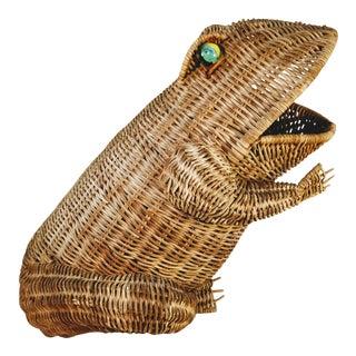 Mid Century Modern Wicker Frog Basket For Sale