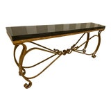 Image of Neoclassical Black Granite and Iron Console or Sofa Table For Sale