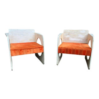 Pair of 1980 Artist-Signed Handcrafted Wooden Cube Chairs For Sale