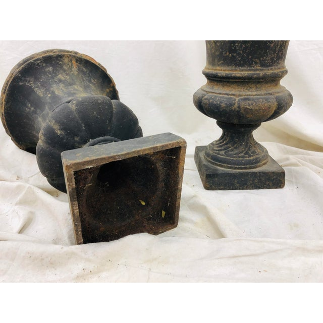 Pair Petite Antique Iron Urns For Sale In Raleigh - Image 6 of 8
