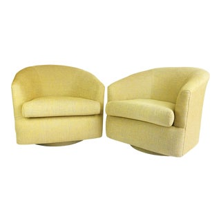 1980s Newly Reupholstered Champagne Gold Swivel Lounge Chairs For Sale