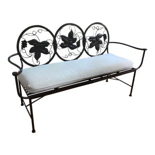 1990s Maitland-Smith Style Heavy Iron Bench For Sale