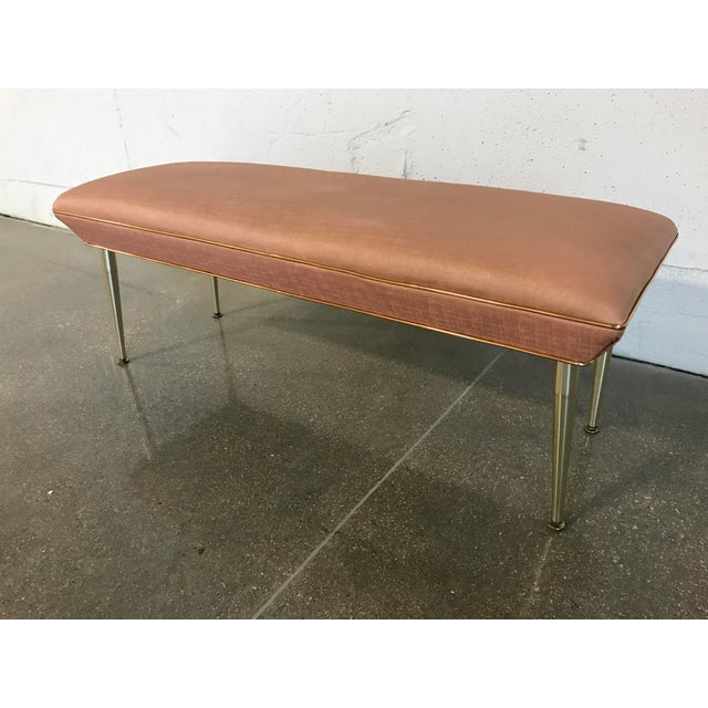 Mid-Century Modern Hollywood Regency Pink & Gold Bench - Image 3 of 7