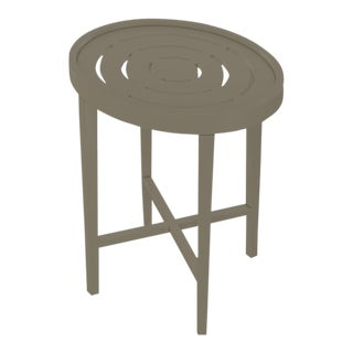 Oomph On the Rocks Oval Outdoor Side Table, Taupe For Sale