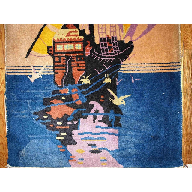 1920s Antique Art Deco Chinese Rug - 2′7″ × 4′6″ For Sale - Image 5 of 5