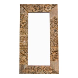 Antique Chennai Temple Carved Panel Mirror For Sale