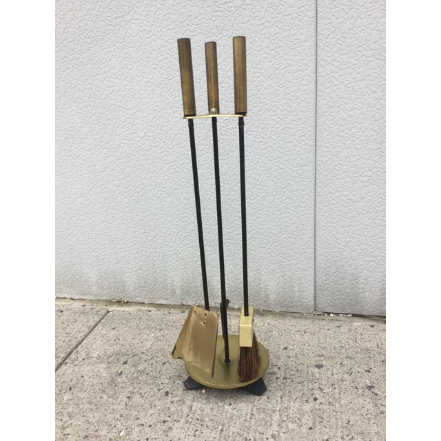1960s Modernist Brass Fireplace Tools & Holder Set - Image 3 of 10