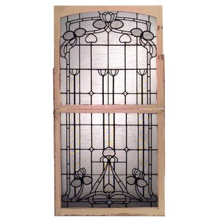 Early 20th Century French Art Nouveau Leaded Glass Window For Sale