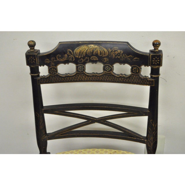 Pair of Antique Chinoiserie Oriental Japanned Black Painted Pagoda Side Chairs For Sale In Philadelphia - Image 6 of 11