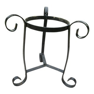 Chippy Paint Rod Iron Scrollwork Garden Plant Stand For Sale