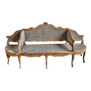 19th C. French Cane Settee For Sale