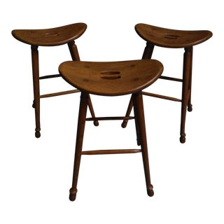 Saddle Seat Bar Stools - Set of 3 For Sale
