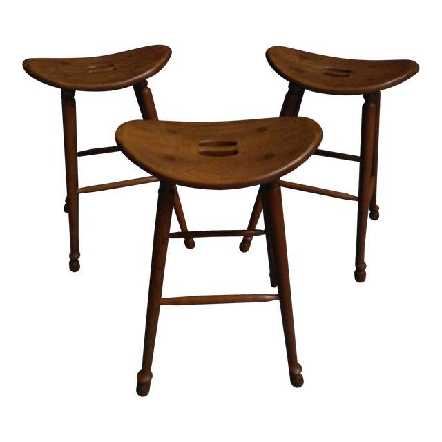 Image of Saddle Seat Bar Stools - Set of 3