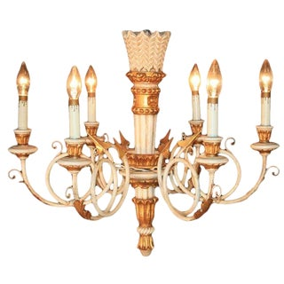 1950s Carved Giltwood Italian Neoclassical Style Gold and White Arrow Chandelier For Sale