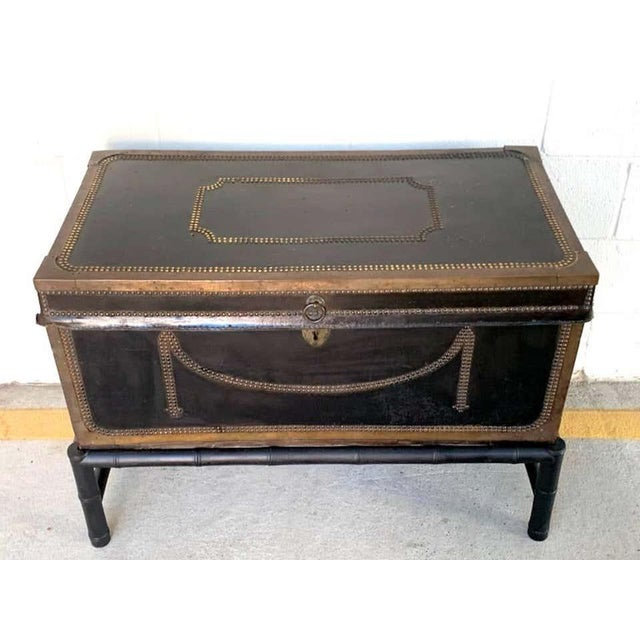 Traditional 19th Century English Regency Brass Studded Leather Chest on Stand For Sale - Image 3 of 10