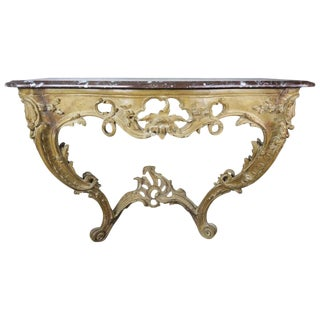 19th Century French Carved Wood Console With Marble Top For Sale