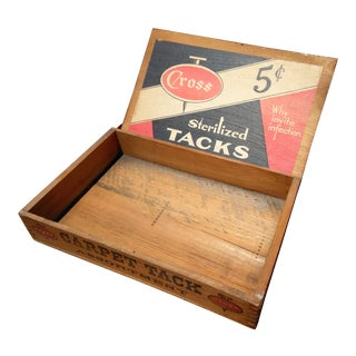 1930s Wooden Display Box From Cross Carpet Tacks For Sale