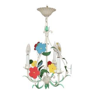 Vintage Floral Tole Chandelier Hanging Light For Sale