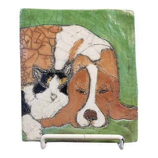 """Vintage """"Best Friends"""" Dog & Cat Glazed & Painted Ceramic Tile For Sale"""