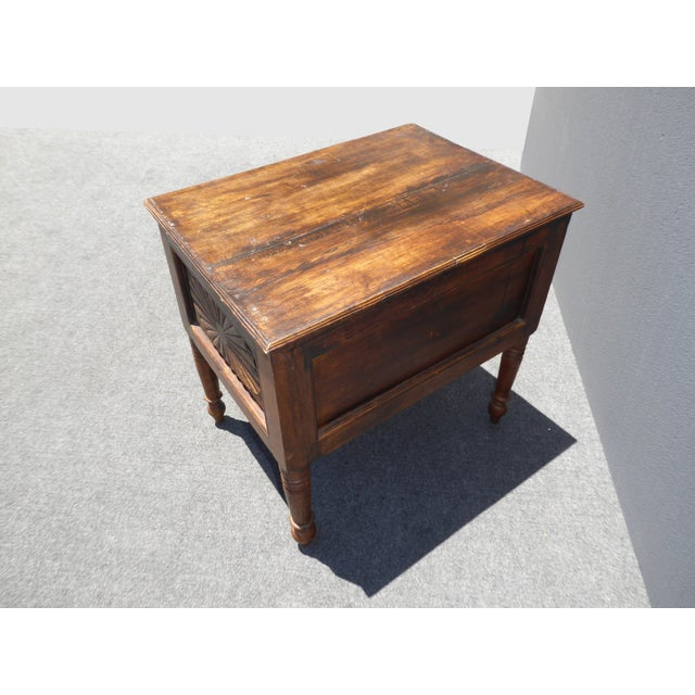 Spanish Style Carved Wood Chest End Table - Image 8 of 11
