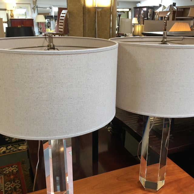 Restoration Hardware Hexagonal Column Crystal Table Lamps- A Pair - Image 7 of 9