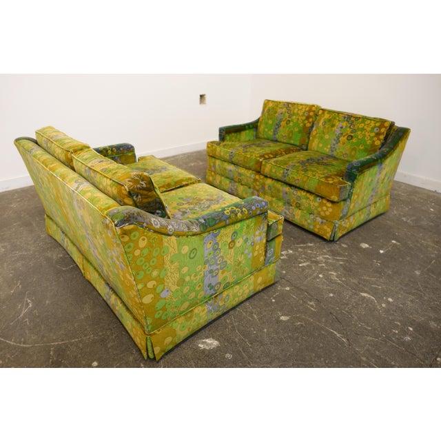 Modern Mid Century Modern Loveseats Upholstered in Jack Lenor Larsen Fabric -A Pair For Sale - Image 3 of 8