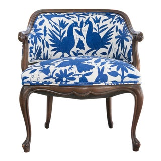 Otomi Embroidery Chair, Mid Century Bergere, White & Blue, Hand Embroidery, Mahogany, Cobalt Blue, Tribal Rustic Hacienda Style