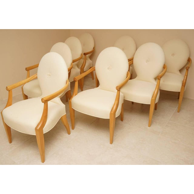 "John Hutton for Donghia 1980 ""Casper"" Maple Wood Dining Chairs - Set of 8 - Image 3 of 9"
