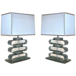 Italian Modern Nickel and Smoked Aqua Murano Glass Architectural Lamps - a Pair For Sale