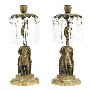 Vintage Figural Brass & Crystal Gladiator Candlesticks- a Pair For Sale