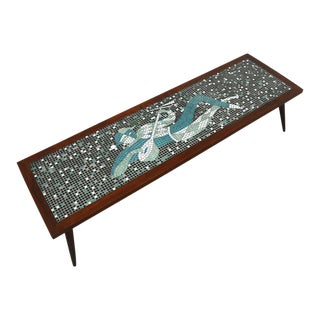Mid Century Modern Harlequin Mosaic Tile and Solid Walnut Coffee Table For Sale