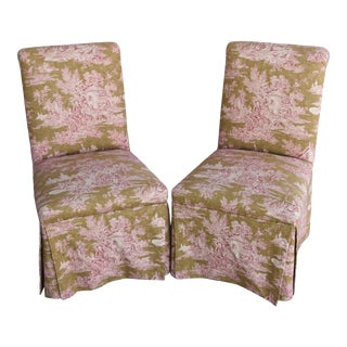 Chic Vintage French Country Toile Slipper Chairs - Pair For Sale
