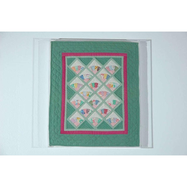 Miniature 1940s Pastel Fans Mounted Doll Quilt - Image 2 of 8