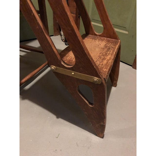 Early 20th Century American Metamorphic Library Ladder Steps For Sale - Image 9 of 13