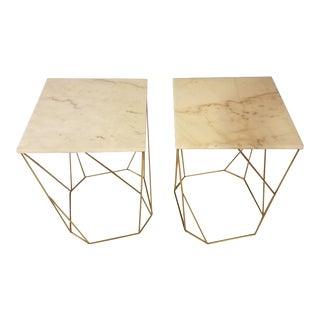 Art Deco Noir Bast Side Tables - a Pair For Sale