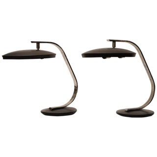 Pair of Nautical Deco Period Adjustable Chrome and Metal Desk Lamps by Fase, Spanish For Sale