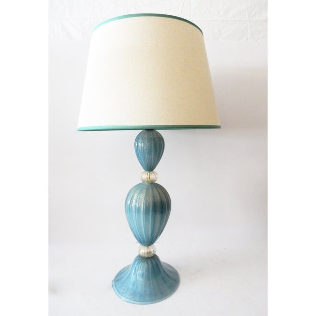 Turquoise Murano Glass Table Lamp - Image 2 of 7