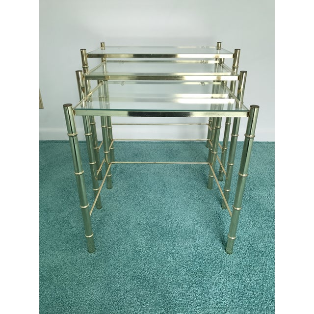 Vintage Glass Top and Metal Nesting Tables- Set of 3 For Sale - Image 4 of 13